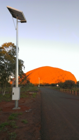 Solar light poles near Uluru